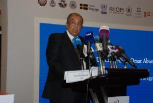 وزير الزراعة خلال مشاركته في مؤتمر تنظمه منظمة الأغذية والزراعة للأمم المتحدة