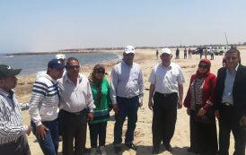 بالصور... وزير الري يطمئن علي مشروع تدعيم حائط رشيد لحماية الشواطئ